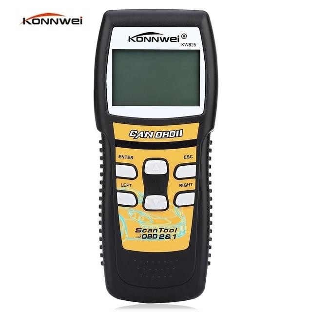 Konnwei KW825 Car Scaner Code Reader OBD2 Car Diagnostic Scan Tool LCD Screen OBDII Professional Solution Auto Diagnostic Tool