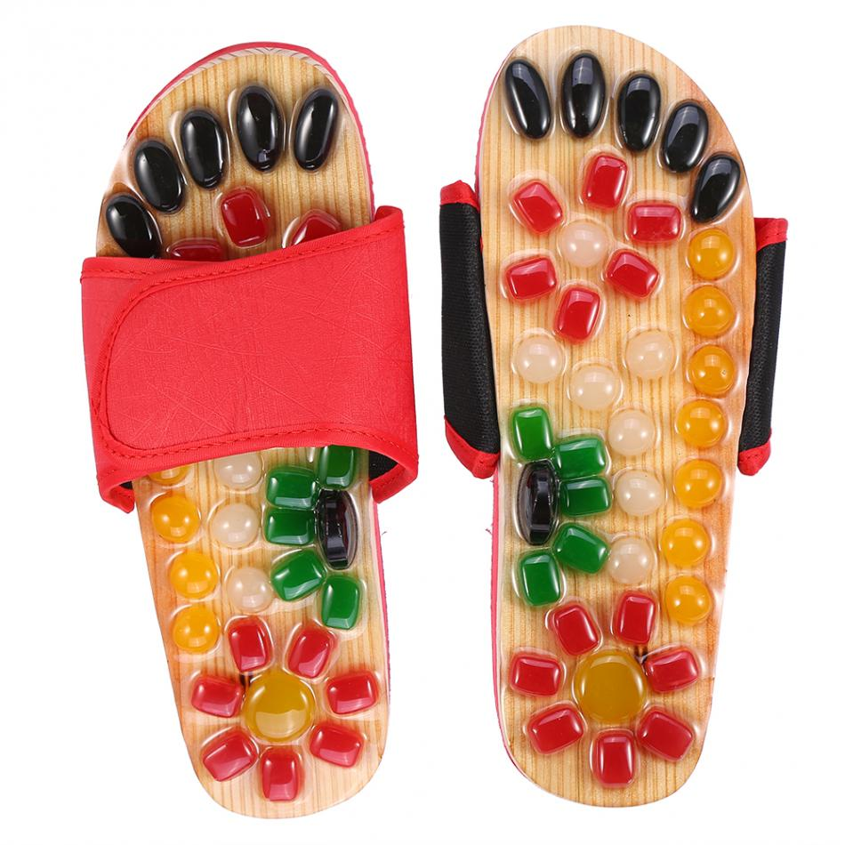цена Natural Pebble Stone Foot Massager Slippers Reflexology Care Blood Activating Foot Acupuncture Point Massage Shoes For Men Women