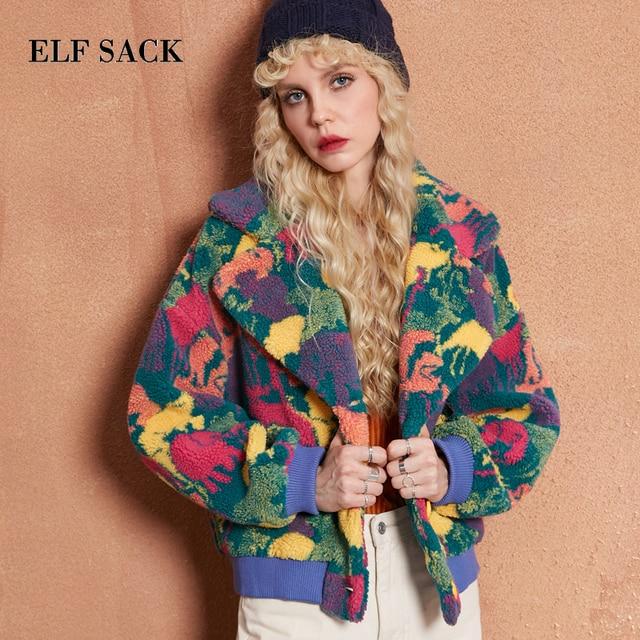 ELF SACK Winter Women Polyester Wool Coats Womens Camouflage Lmitation Lambskin Short Jackets Drop Shoulder Loose Wool Coats