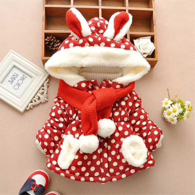 Children's Winter Cotton  Jackets Polka Dot Rabbit Hooded Long Sleeve Coat+Scarf Girls Outerwear & Coats for 1-4T