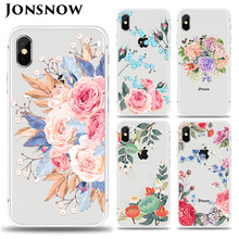 цена на JONSNOW For iPhone 7 Flowers Pattern Soft Case For iPhone X 6S 7 8 Plus Clear Back Cover for iPhone 5 5S SE Capa Coque Fundas