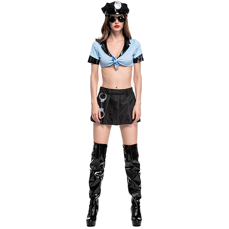 Woman <font><b>Sexy</b></font> Police <font><b>Cop</b></font> Cosplay Costumes Bandage Crop Top Skirt Halloween Cosplay Costumes <font><b>Sexy</b></font> Lingerie 4PCS Set Club Party Dress image