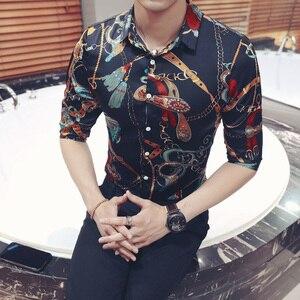 Image 5 - ゴールドキーチェーン花柄シャツスリムフィット韓国服男性シュミーズオム花パーティークラブシュミーズオムプラスサイズ 5xl