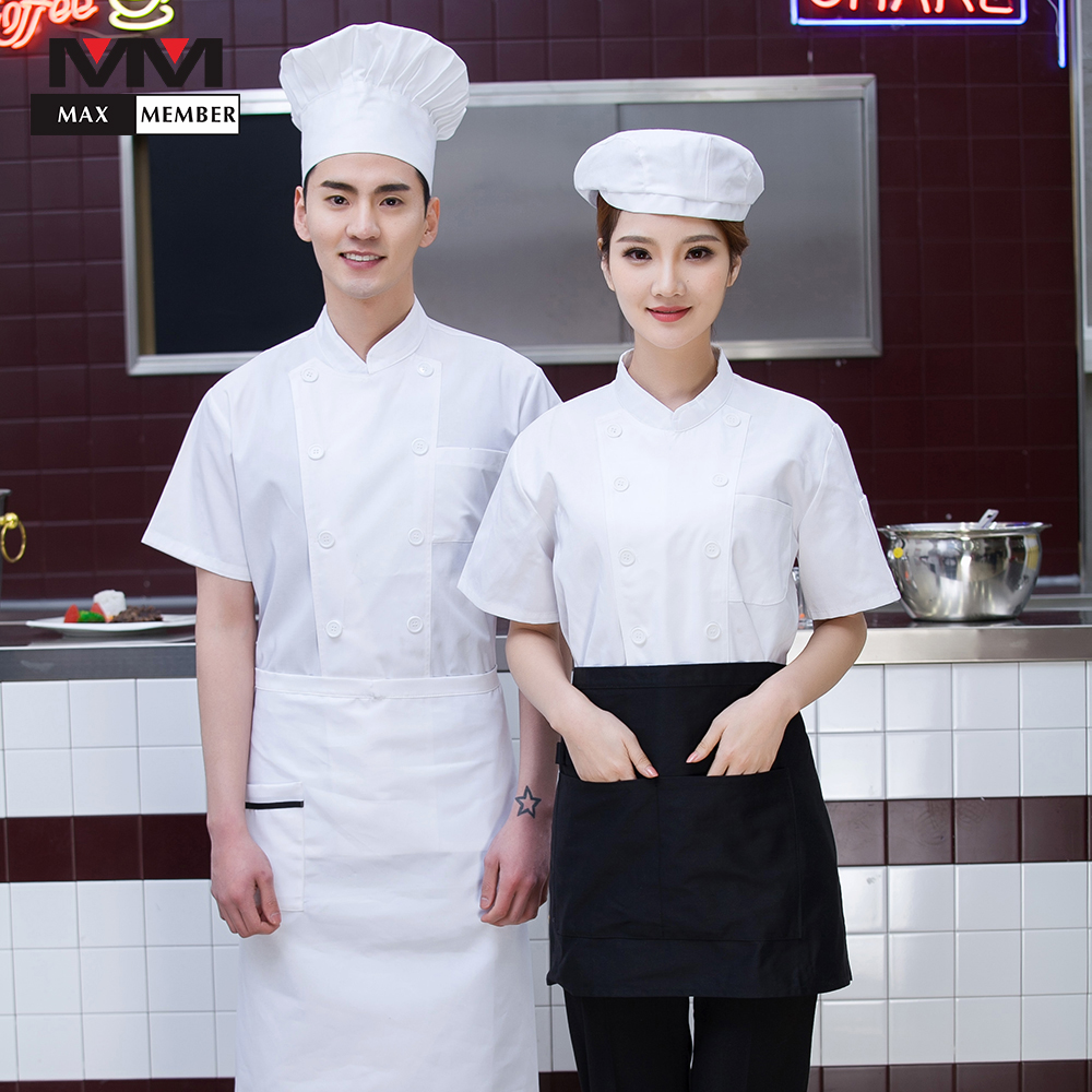 Restaurant White Top Chef Work Unifoms Short-sleeved Casual Kitchen Overalls Cooking Clothing Coffee Shop Hotel Waiter Jackets
