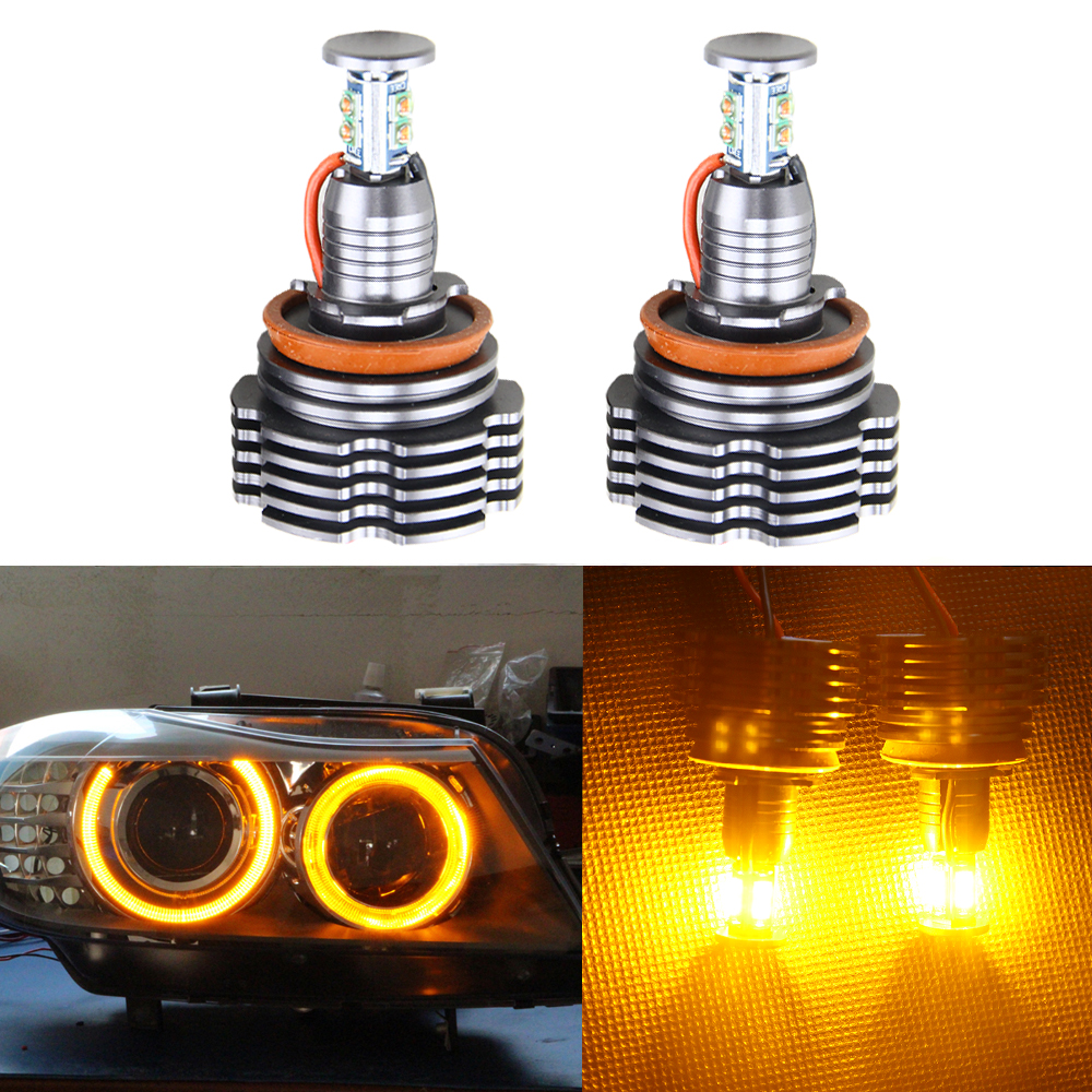 Factory HID Replacement 40W H8 Amber LED Angel Eyes Halo Ring Marker Headlight Bulbs for BMW E60 E61 E70 E71 E82 E89 X5 X6 Z4 1 pair 12w h8 led bulbs angel eyes halo light bulbs marker headlight for bmw e60 e82 e87 e90 e92