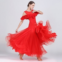 red ballroom dress woman dance clothes spanish flamenco viennese waltz fringe tango foxtrot