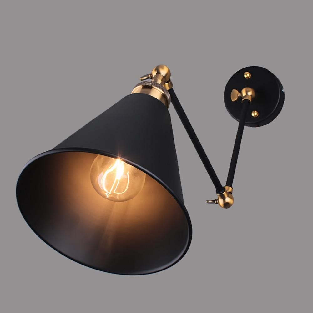 ФОТО Vintage Long Black Wall Lamp Nordic Industrial Vintage Indoor Edison Wall Sconce Adjustable Metal Wall Light Fixtures Wall Lamp