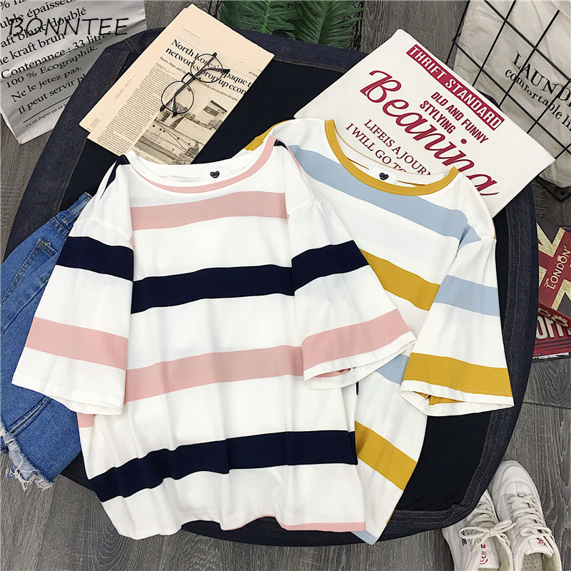 T-shirts Women Striped Trendy Students Korean Style O-Neck Clothing Womens Summer 2020 Chic Loose All-match Ladies T-shirt Daily