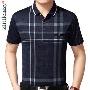 Image 1 - 2020 sıcak gerçek cep vücut geliştirme kısa kollu Polo GÖMLEK erkek ekose Polo yaz Pol Tee gömlek Mens elbise Poloshirt forması 1398