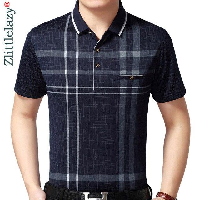 2020 sıcak gerçek cep vücut geliştirme kısa kollu Polo GÖMLEK erkek ekose Polo yaz Pol Tee gömlek Mens elbise Poloshirt forması 1398
