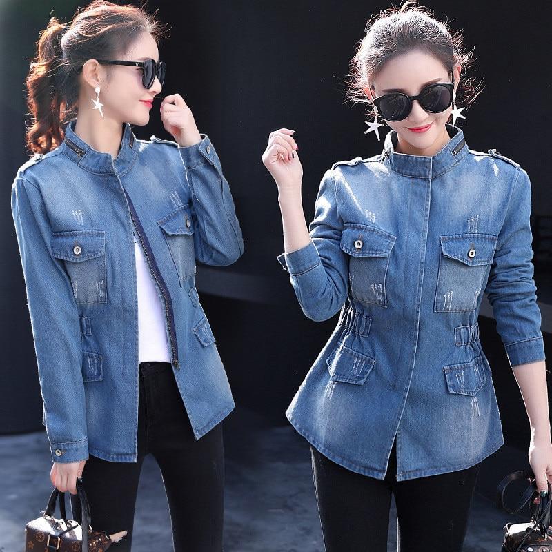Autumn Plus Size Denim Jacket Jeans Coat Women Clothing Fashion Pocket Zipper Casual Female Windbreaker Casaco Feminino OKD205