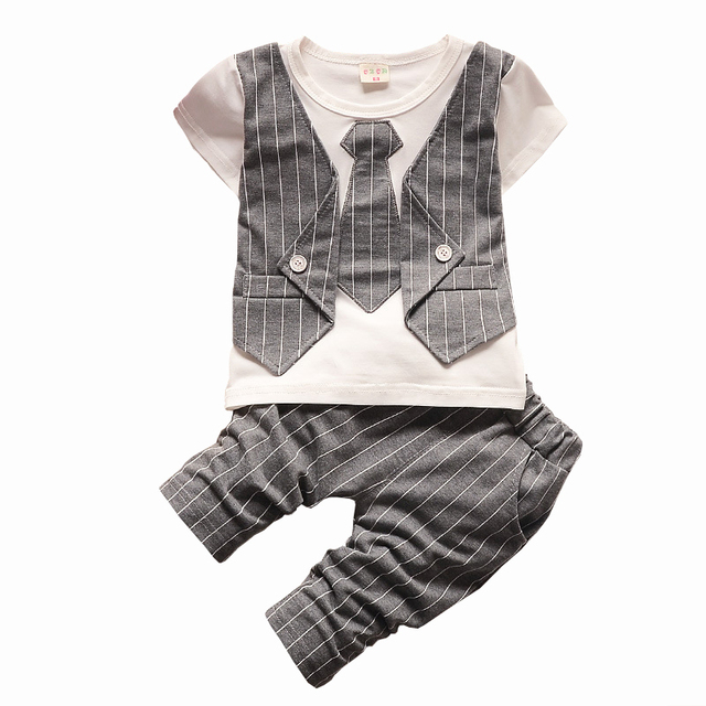 British Style Baby Boys Clothes Sets Short Sleeve Hedging T-shirt + Stripe Trousers Two-piece Handsome Boys Summer Clothes Set