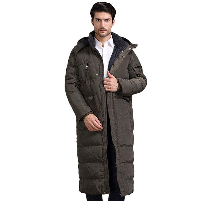 Winter Men Down Jackets Thick Warm X-Long <font><b>White</b></font> Duck Down Jackets With Hood Casual Outwear Brand Jacket Men casaco masculino