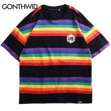 GONTHWID קשת פסים קצר שרוול T חולצות Streetwear 2020 גברים נשים היפ הופ Harajuku מקרית Tees זכר אופנה חולצות ה t