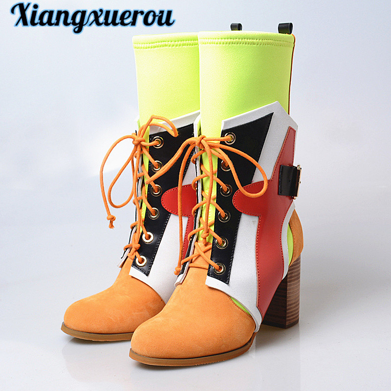 Xiangxuerou The new 2018 lace-up pinstripe matching lean leg stretch cloth ground sanded calfskin middle boots