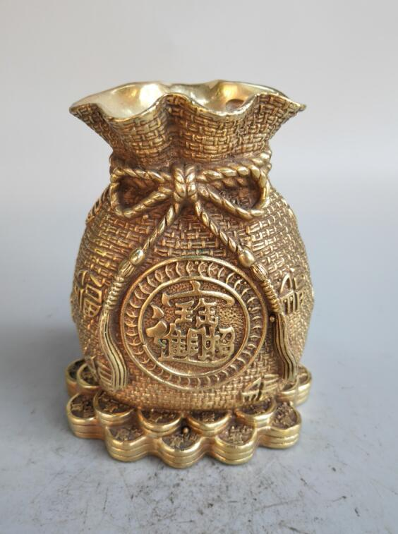 Chinese Seiko carving pure brass money sack crafts statue|Statues & Sculptures| |  - title=