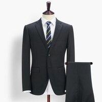Брендовые мужские clothing2016men Жених Костюмы Комплект для свадьбы 95% шерсть черный полосатый однобортный костюм пальто + костюм брюки бизнес см