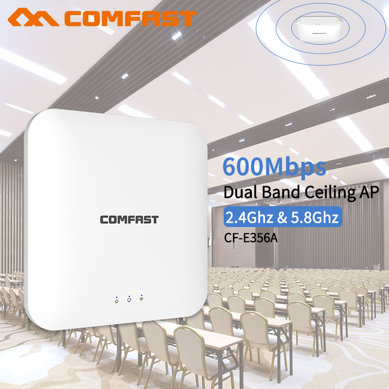 802.11ac 2.4G&5.8G Dual Band 600Mbps Ceiling Mount PoE WiFi AP Router Wireless Access Point Amplifer  48V PoE Adapter Included
