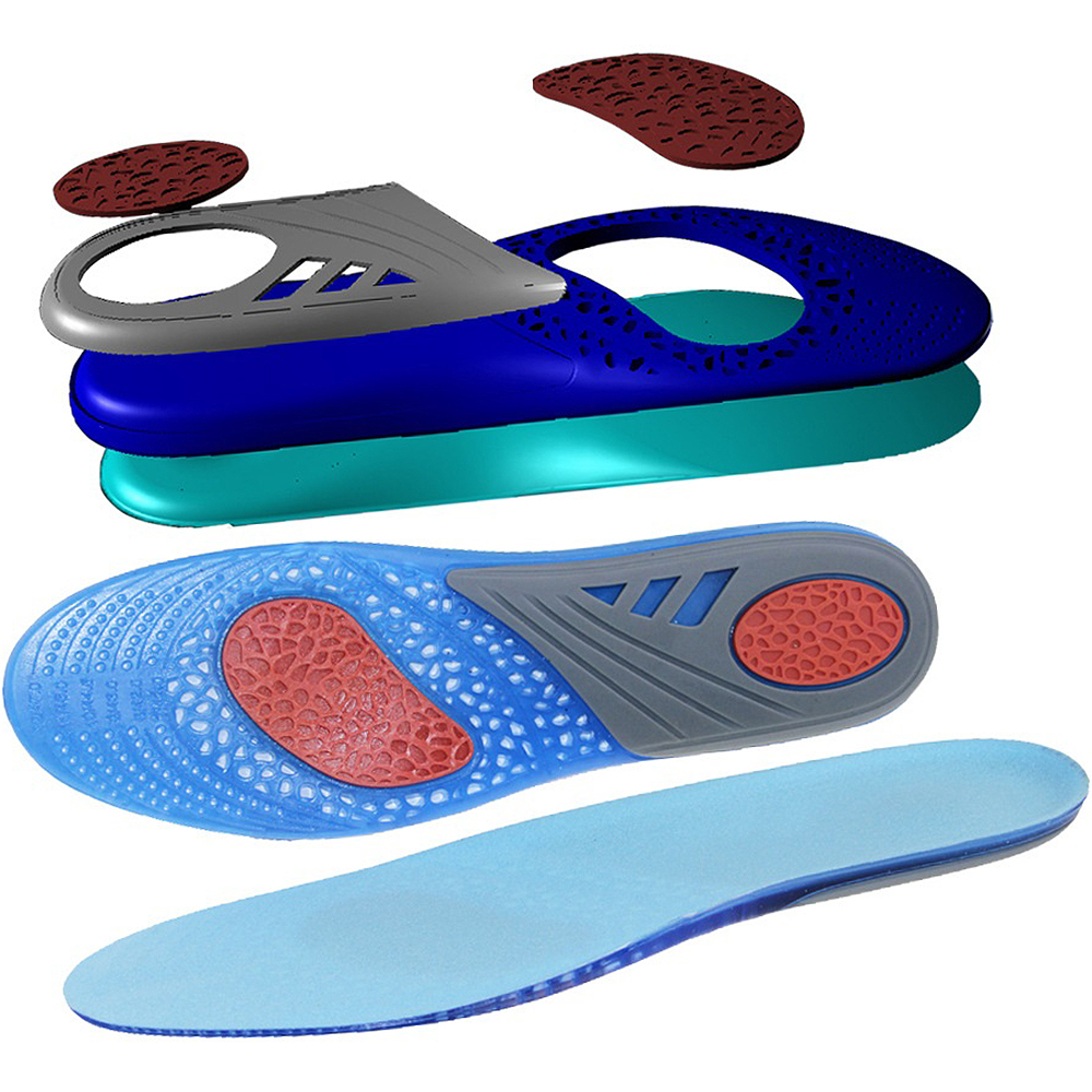 2018 New Silicone Gel Insoles Foot Care for Plantar Fasciitis Heel Shock Absorption Insole Height Incresaing Shoepad