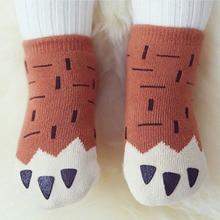 Нескользящие хлопковые носки для малышей; Милые Асимметричные Носки с рисунком для малышей; сезон весна-осень-зима