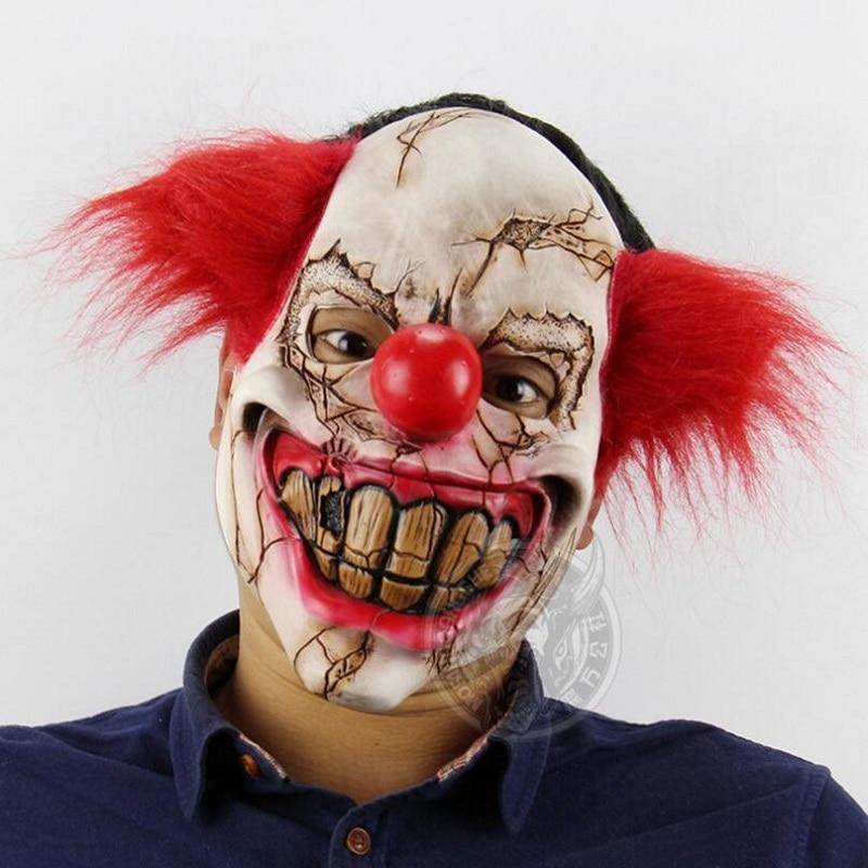 Broken Face Ugly Terrifying Clown Mask Хэллоуин Red Hair - Костюмдер - фото 2