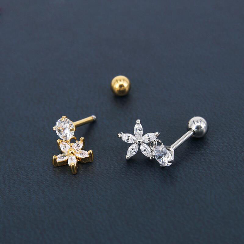 Fashion 316L Stainless Steel 5AAAAA Zircon Star Earrings 24K Plated Gold Tragus Ear Studs For Women