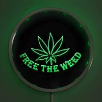 Rs 0404 Free The Weed High Life LED Neon Round Signs 25cm 10 Inch Bar Sign