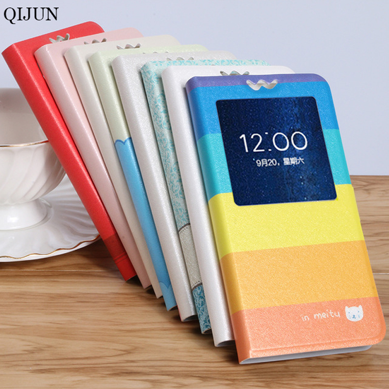 QIJUN <font><b>Case</b></font> for <font><b>Samsung</b></font> <font><b>Galaxy</b></font> <font><b>S5</b></font> i9600 <font><b>G900F</b></font> <font><b>S5</b></font> Neo SM-G903F Painted Cartoon Magnetic Flip Window PU Leather Phone Bag Cover image