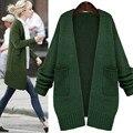 2016 Luva Longa Das Mulheres Camisola de Malha Outono Inverno Crochet Cardigan Casual Camisola Longa de Lã Jaqueta Plus Tamanhos