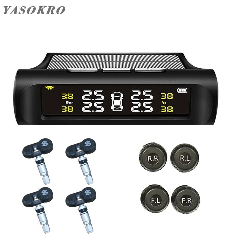 YASOKRO Solar TPMS Car Tire Pressure Alarm Monitor System Solar Charging LCD Display 4 External Sensor Temperature Sensor