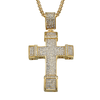 Hip Hop Iced Out Cross Necklace Stainless Steel Full Micro Paving CZ Crucifix Pendants Necklaces for Religion Jewelry