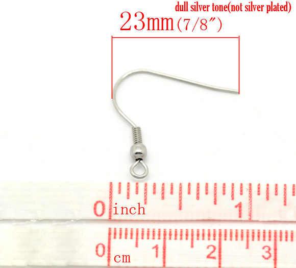 "DoreenBeads נירוסטה עגיל עגיל רכיבי ממצאי טוויסט כסף טון 23mm (7/8 "") x 22mm (7/8 ""), 8 PCs"
