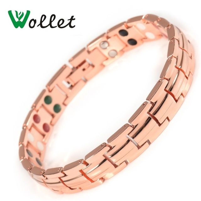 Wollet Jewelry Copper Magnetic Bracelet Bangles For Women Healthy Bio Energy Germanium Tourmaline Ion Infrared