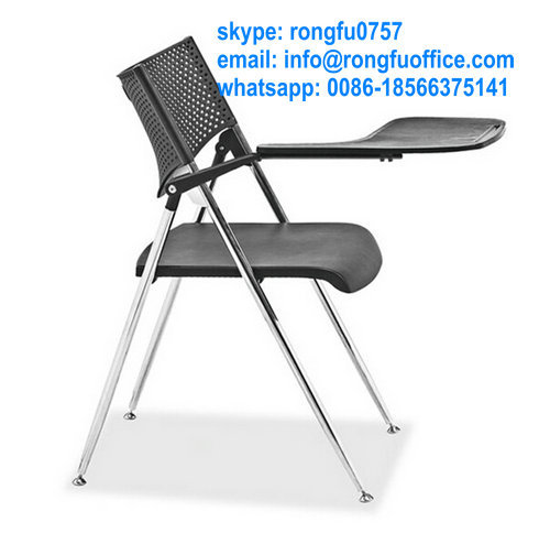 Plastic And Metal Conference Training Folding Chair With Writing Pad Basket College Student
