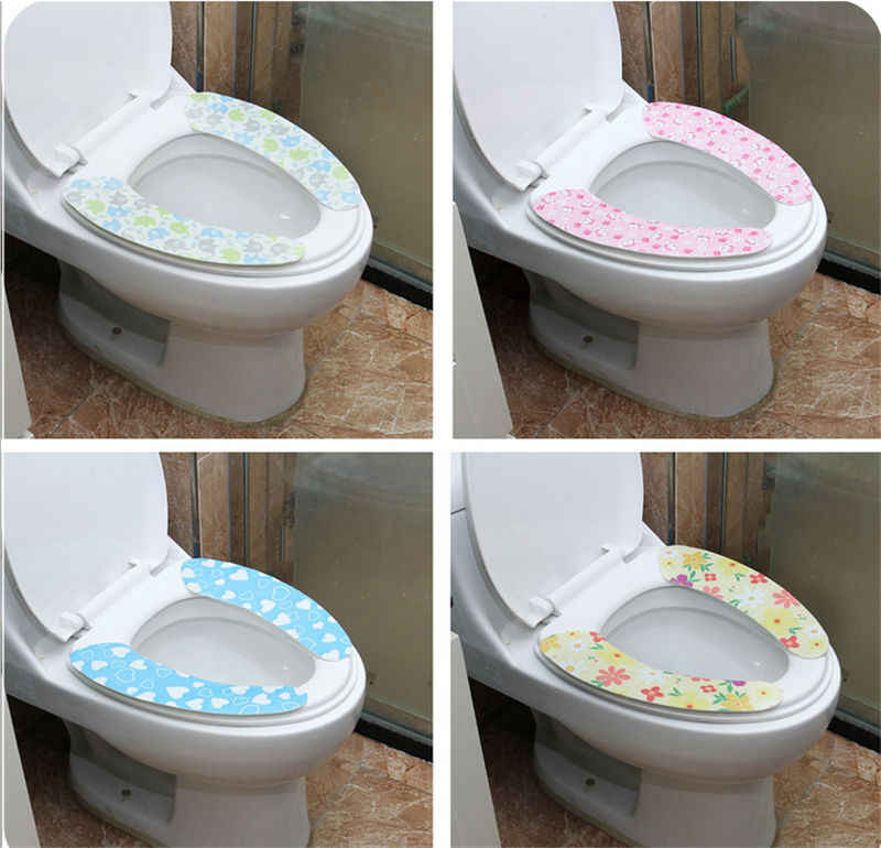 1 pair Magic Adhesive Bathroom Toilet Closestool Warmer Washable Soft Seat Cover Pads