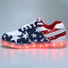 USB Взимается СВЕТОДИОДНЫЙ Зашнуровать Светодиодные обувь для взрослых случайный обувь светодиодные светящиеся обувь мужчин плюс размер свет Унисекс обувь