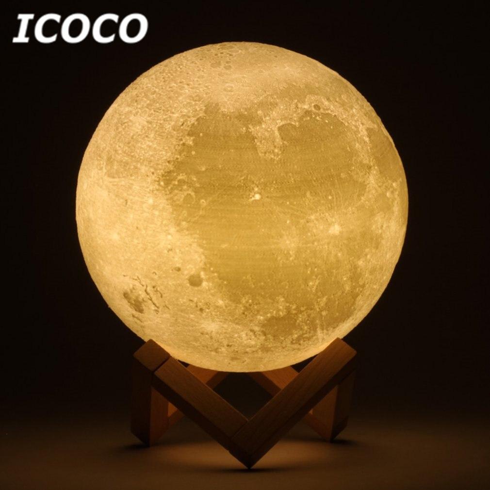 ICOCO 3D Impression Lune Lampe LED Lunaire Tactile Capteur Contrôle Nuit lumière De Bureau Lampe de Table Pour La Décoration Intérieure Drop Shipping Hot Vente