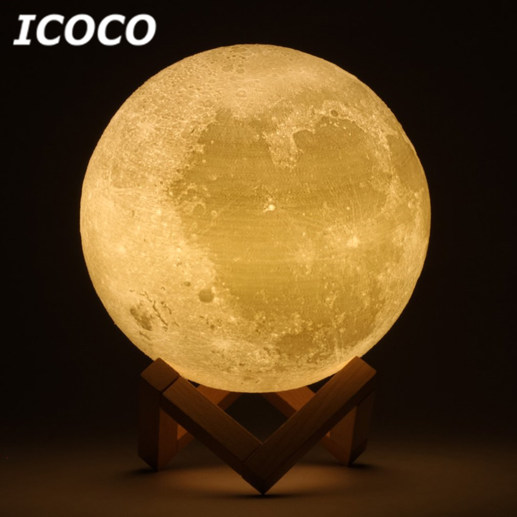 ICOCO 3D Print Moon Lamp LED Lunar Touch Sensor Control Night Light Desktop Table Lamp For Home Decor Drop Shipping Hot Sale magnetic floating levitation 3d print moon lamp led night light 2 color auto change moon light home decor creative birthday gift