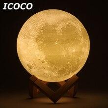 ICOCO 3D Print Moon Lamp LED Lunar Touch Sensor Control Night Light Desktop Table For Home Decor Drop Shipping Hot Sale