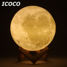 ICOCO 3D Print Moon Lamp LED Lunar Touch Sensor Control Night Light