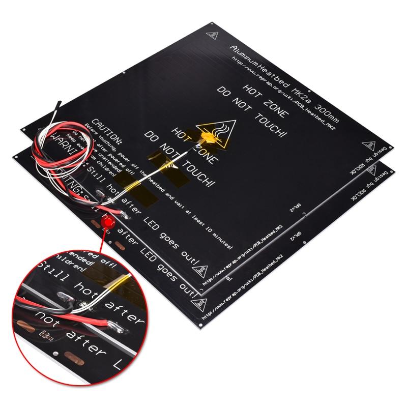 MK2A 300*300*3 MM lit chauffant lit chauffant en aluminium lit chaud comme pièces d'imprimante 3D MK2B MK3 rampes de plaque chauffante 1.4 Mendel câble