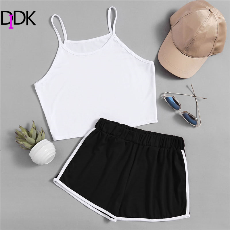 SweatyRocks Crop Cami Top With Contrast Trim Shorts 2018 Black And White Straps Plain Shorts Sleeveless Two Piece Set