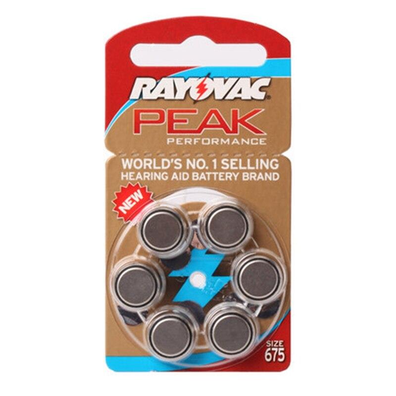 60 PCS Rayovac Peak Hearing Aid Batteries Zinc Air 675 A675 PR44 Free Shipping