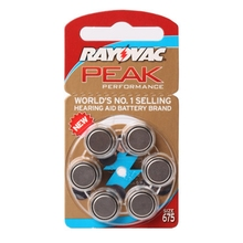 60 PCS Rayovac Peak Hearing Aid Batteries Zinc Air 675/A675/PR44 Free Shipping!