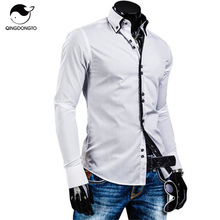 Men Shirt Luxury Brand 2017 Male Long Sleeve Shirts Casual Solid Multi-Button Hit Color Slim Fit Dress Shirts Mens Hawaiian XXL