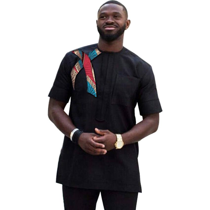 Latest Fashion Short Sleeve Print Tops Men African Shirt Patchwork Dashiki Clothes Slim Fit