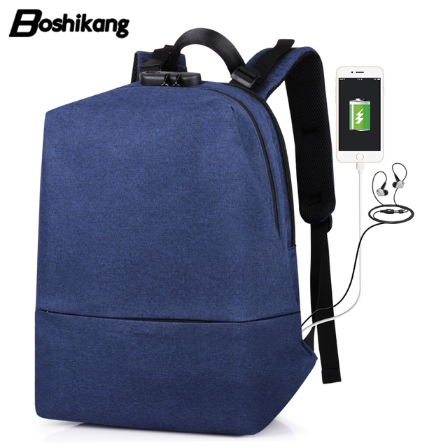 Boshikang brand Design men backpack anti theft USB charge laptop backpack  blue color school backpack fashion back pack bag 3a99e88188
