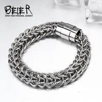 Beier 316L Stainless Steel Bracelet Machine Knitting High Polish Chain Bracelet Fashion Jewelry BR C021