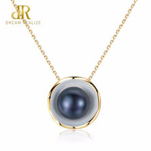 DR Brand 18K Gold Color Charm Shell Design White/ Black Pearl S925 Necklaces Natural Pearls Pendant 925 Sterling Silver Necklace(China)