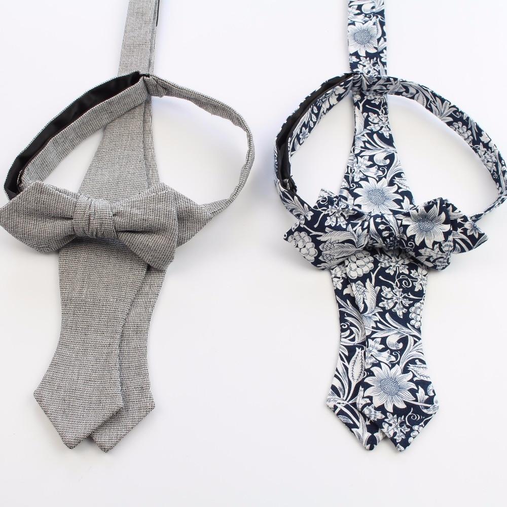 Mens Handmade Cotton Bowties Plain Self Tie Designer Flower Paisley Bow Ties Cravat Butterfly